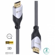 CABO HDMI 2.0 4K ULTRA HD 3D CONEXAO ETHERNET BLINDADO EM NYLON 2 METROS - H20B-2