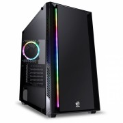 GABINETE FULL-TOWER CHROMA PRETO COM LED E FAN TRASEIRO RGB - LATERAL EM VIDRO TEMPERADO - CHPTRGB1FCV