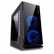 GABINETE GAMER VX GAMING CRATER COM JANELA ACRILICA PRETO COM 2 X FAN FRONTAL 120MM 15 PONTOS DE LED AZUL