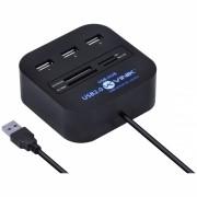 HUB USB 2.0 COM LEITOR DE CARTAO SD, MICRO SD, MS, M2 E TF