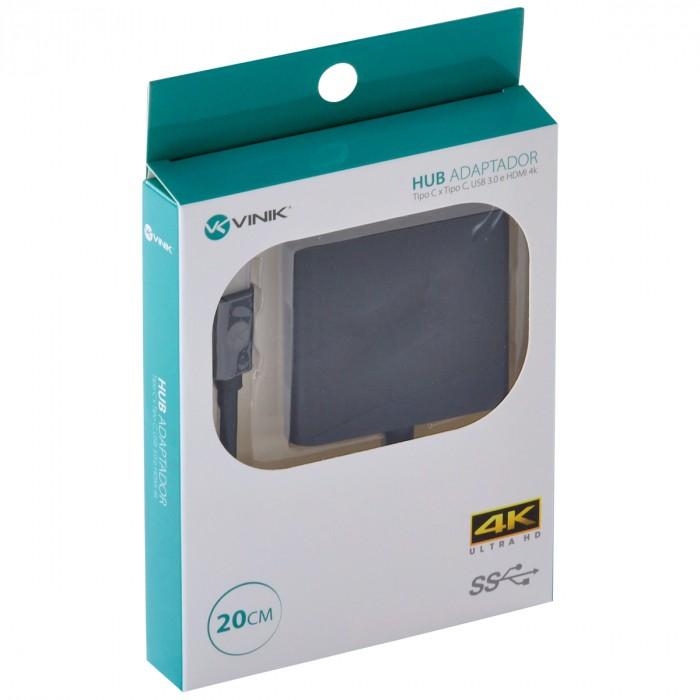 ADAPTADOR HUB USB TIPO C X USB TIPO C, HDMI 4K, USB 3.0, 5GBPS 20CM - HCHUC-20