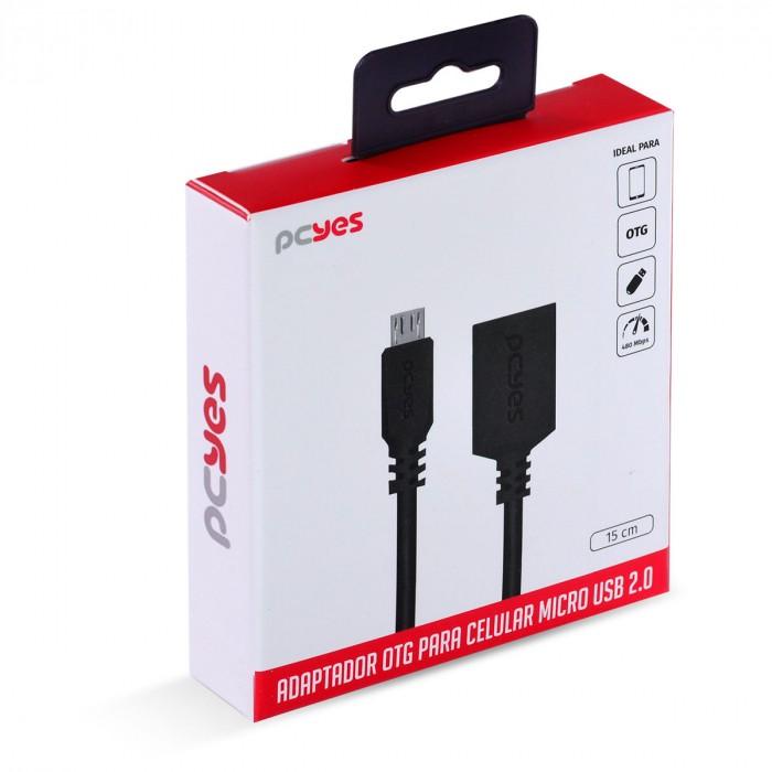 ADAPTADOR OTG MICRO USB PARA USB 2.0 15CM PRETO CONEXAO COM CELULARES SMARTPHONES TABLETS - PAMUP-15