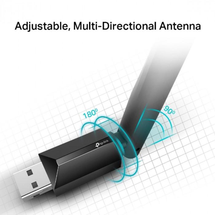 ADAPTADOR USB WIRELESS AC600 ARCHER DUAL BAND 2.4GHZ E 5GHZ ANTENA 5DBI T2U PLUS