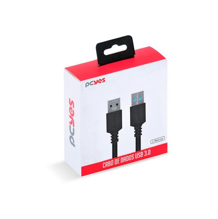 CABO DE DADOS USB A 3.0 MACHO PARA USB A 3.0 MACHO 28AWG PURO COBRE 2 METROS - PUAM3-2