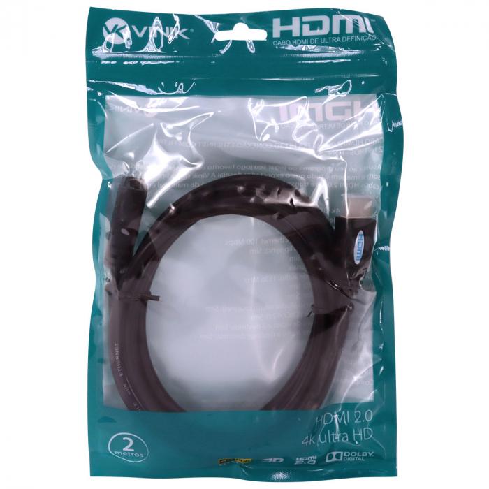 CABO EXTENSOR HDMI 2.0 4K ULTRA HD 3D CONEXAO ETHERNET 2 METROS - H20F-2