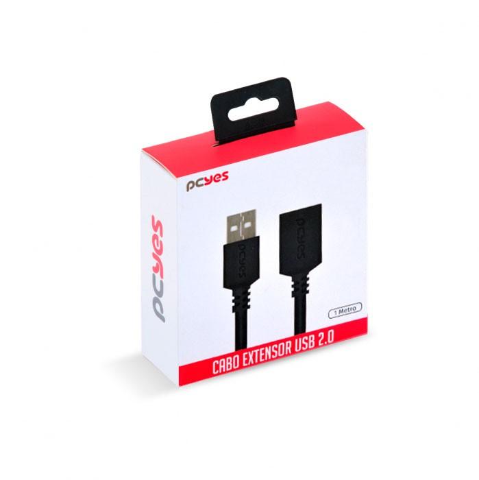 CABO EXTENSOR USB A 2.0 MACHO PARA USB A 2.0 FEMEA 28AWG PURO COBRE 1 METRO - PUAMF2-1