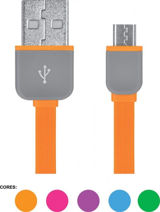 CABO FLAT MICRO USB 5 PIN WI298 SORTIDOS SEM OPCAO DE COR UNITARIO