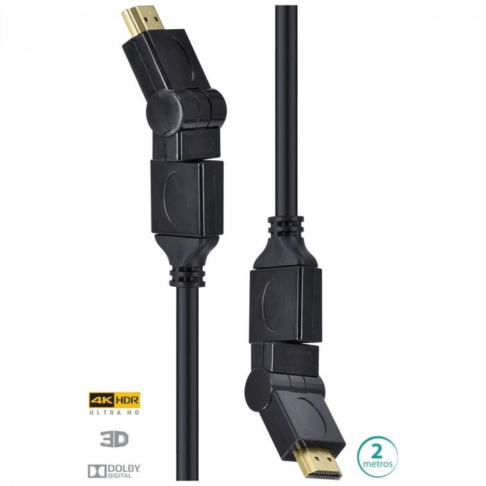 CABO HDMI 2.0 4K ULTRA HD 3D CONEXAO ETHERNET CONECTORES 360° 2 METROS - H20B360-2