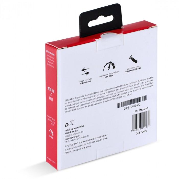 CABO PARA CELULAR MICRO USB PARA USB A 2.0 3 METROS PRETO - PMUAP-3
