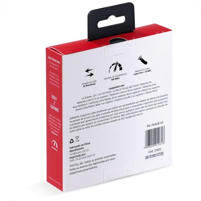 CABO PARA CELULAR SMARTPHONE USB A 2.0 PARA USB TIPO C 2 METROS BRANCO - PUACB-02