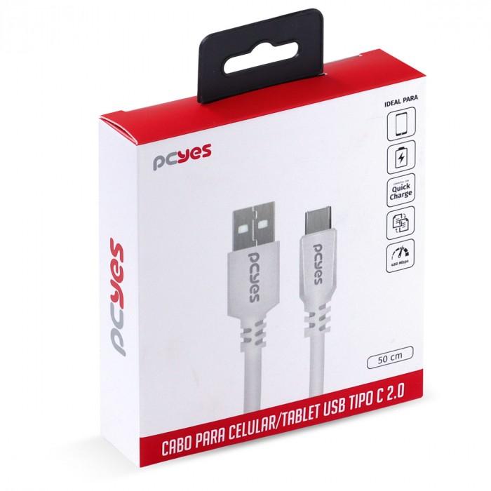 CABO PARA CELULAR SMARTPHONE USB A 2.0 PARA USB TIPO C 50 CM BRANCO - PUACB-05
