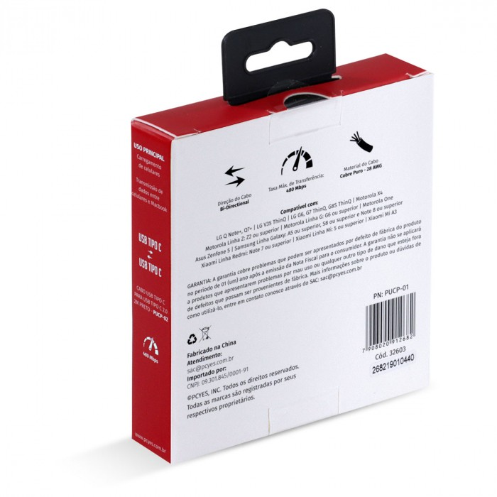 CABO PARA CELULAR SMARTPHONE USB TIPO C 2.0 PARA USB TIPO C / TYPE C 2.0 1 METRO PRETO - PUCP-01