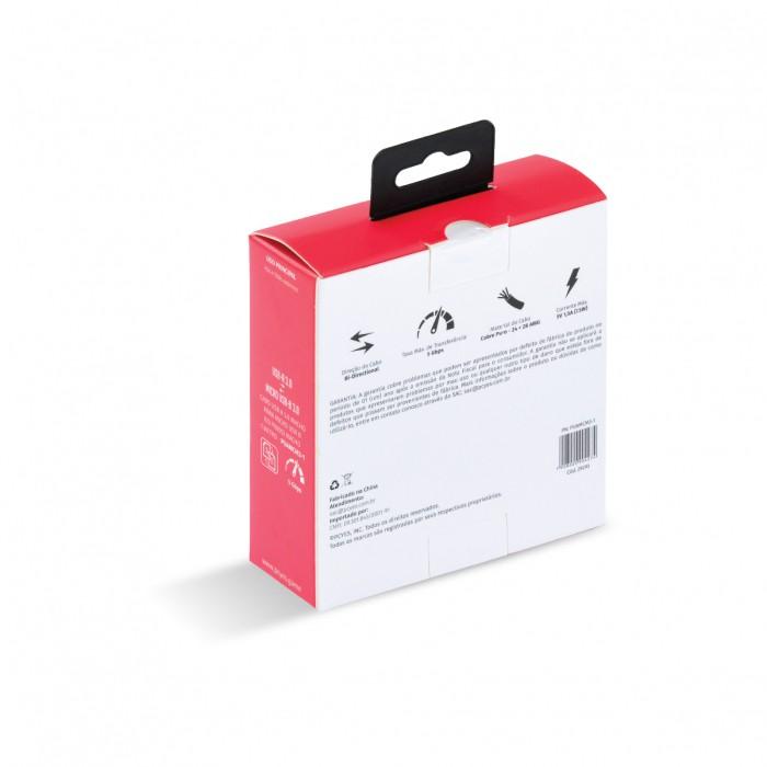 CABO PARA HD EXTERNO USB A 3.0 MACHO PARA MICRO USB B 3.0 (10 PINOS) MACHO 28AWG PURO COBRE 1 METRO - PUAMCM3-1