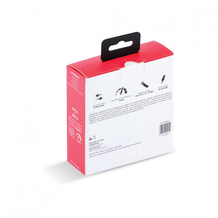 CABO PARA IMPRESSORA E HD EXTERNO USB A 3.0 MACHO PARA USB B 3.0 MACHO 28AWG PURO COBRE 2 METROS - PUABM3-2