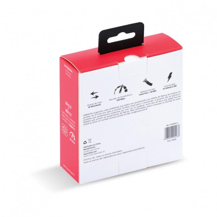 CABO PARA IMPRESSORA USB A 2.0 MACHO PARA USB B 2.0 MACHO 28AWG PURO COBRE 2 METROS - PUABM2-2