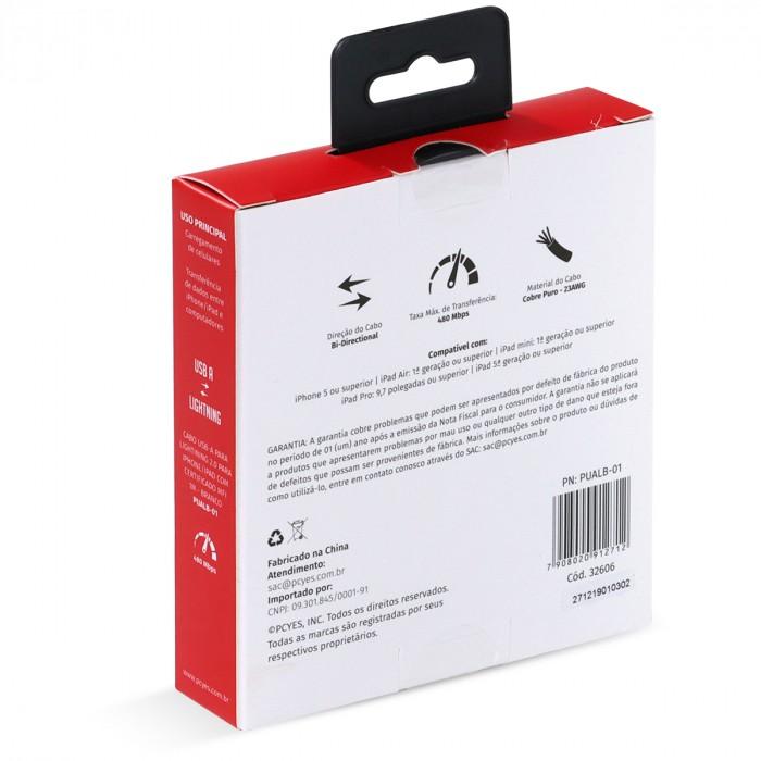 CABO PARA IPHONE ORIGINAL USB A 2.0 PARA LIGHTNING COM CERTIFICADO MFI 1 METRO BRANCO - PUALB-01