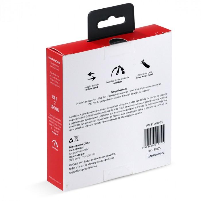 CABO PARA IPHONE ORIGINAL USB A 2.0 PARA LIGHTNING COM CERTIFICADO MFI 50 CM BRANCO - PUALB-05
