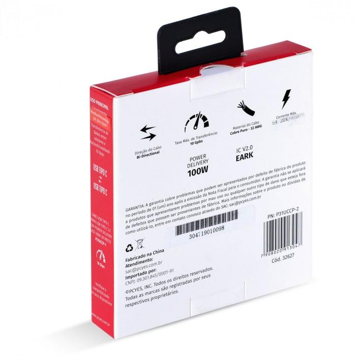 CABO USB TIPO C 3.1 PARA USB TIPO C COM POWER DELIVERY (PD) 100W PARA CELULAR SMARTPHONE 2 METROS PRETO - P31UCCP-2