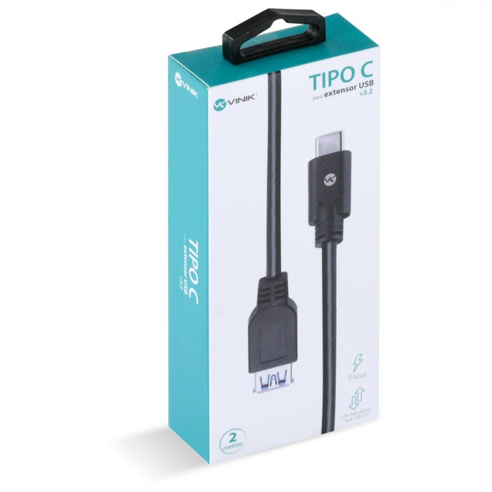 CABO USB TIPO C PARA EXTENSOR USB A FEMEA V3.2 GEN1 5GBPS 2 METROS - C32UAF-2