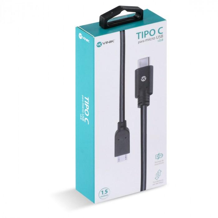 CABO USB TIPO C X MICRO USB B MACHO 2.0 1,5 METROS - C20MUA-15