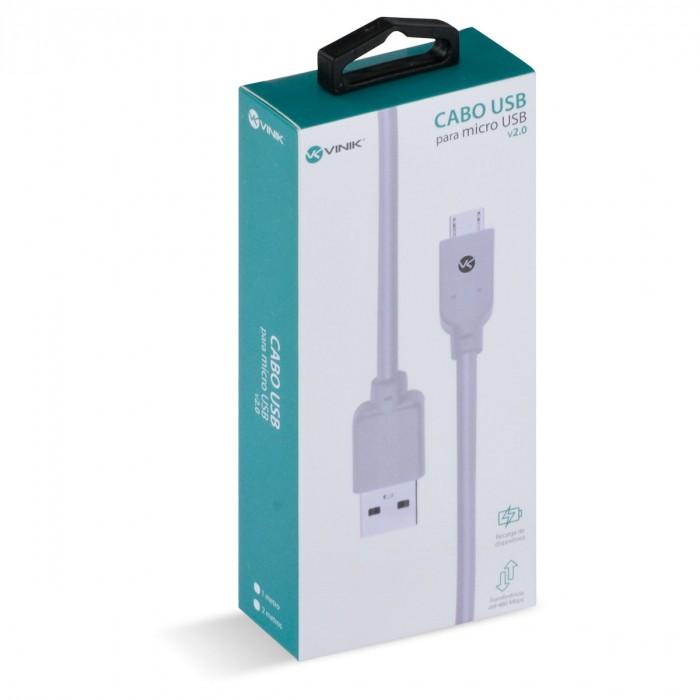 CABO USB X MICRO USB B 2.0 5 PINOS 2 METROS BRANCO - MUSB-2