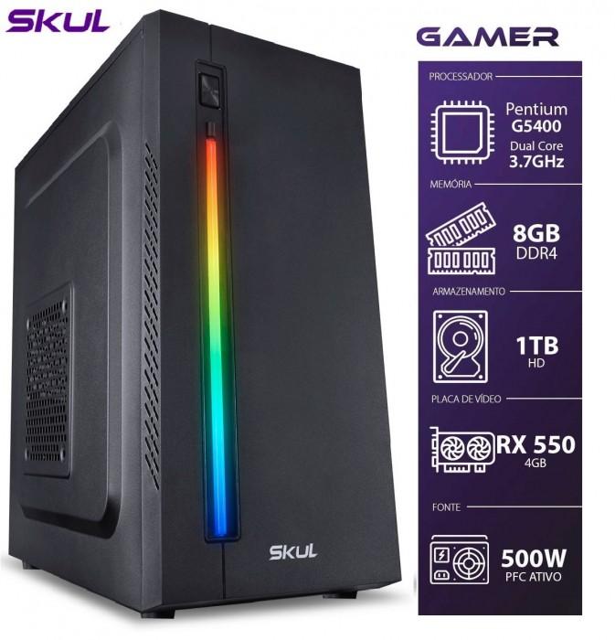 COMPUTADOR GAMER 1000 - PENTIUM G5400 3.7GHZ 8ª GER. MEM. 8GB DDR4 HD 1TB RX 550 4GB FONTE 500W