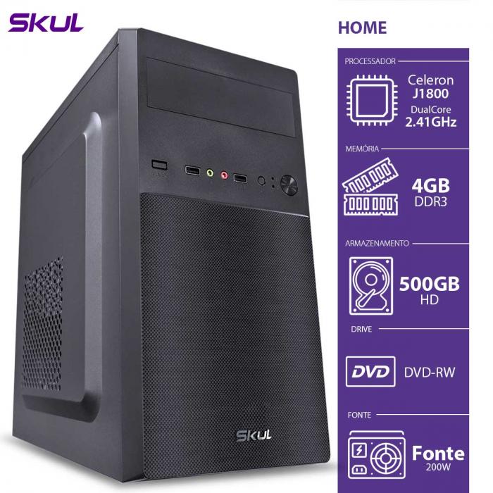 COMPUTADOR HOME H100 - CELERON DUAL CORE J1800 2.41GHZ 4GB DDR3 HD 500GB HDMI/VGA DVD-RW FONTE 200W