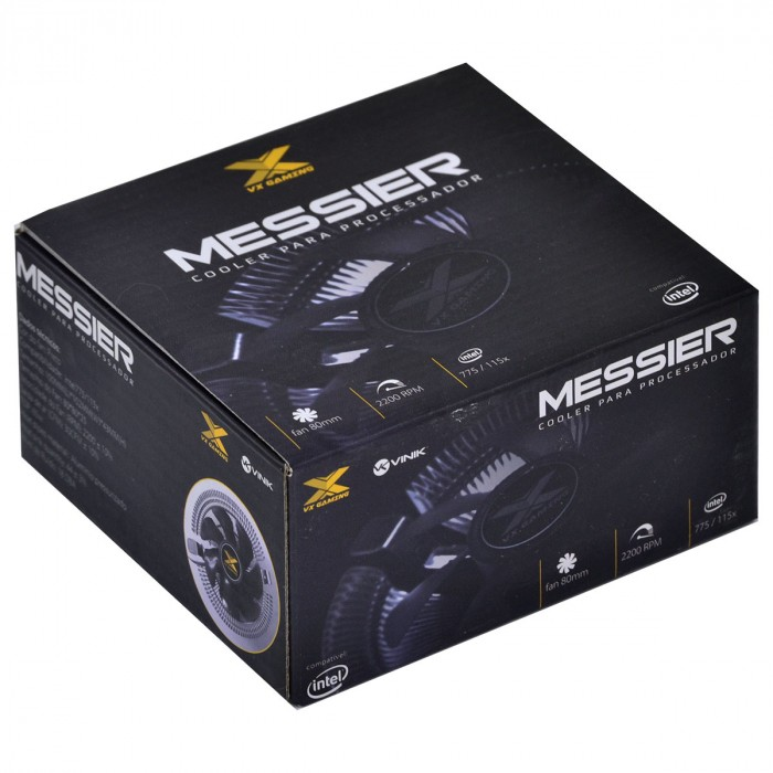 COOLER PARA PROCESSADOR VX GAMING MESSIER COMPATIVEL COM INTEL 775/115X TDP 65W PRETO - CP100