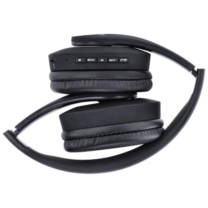 FONE HEADSET BLUETOOTH EASY WH COM FM LEITOR DE CARTAO MICRO SD E CABO AUXILIAR P2 3.5MM PRETO - HW100