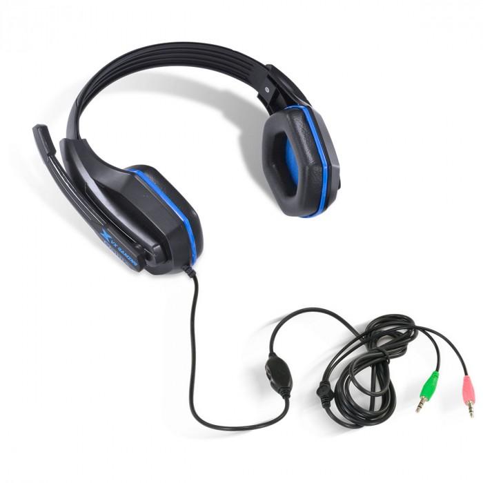 FONE HEADSET GAMER VX GAMING OGMA P2 STEREO COM MICROFONE - PRETO E AZUL