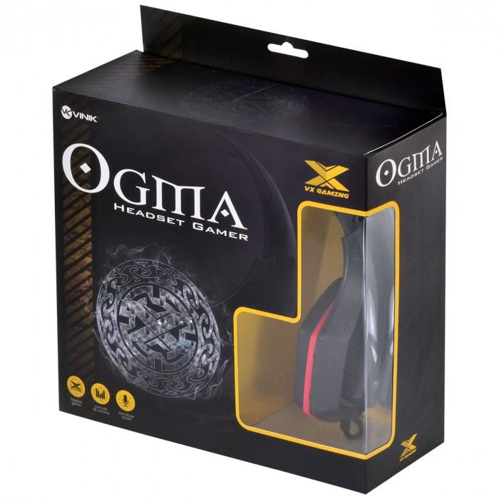 FONE HEADSET GAMER VX GAMING OGMA P2 STEREO COM MICROFONE - PRETO E VERMELHO
