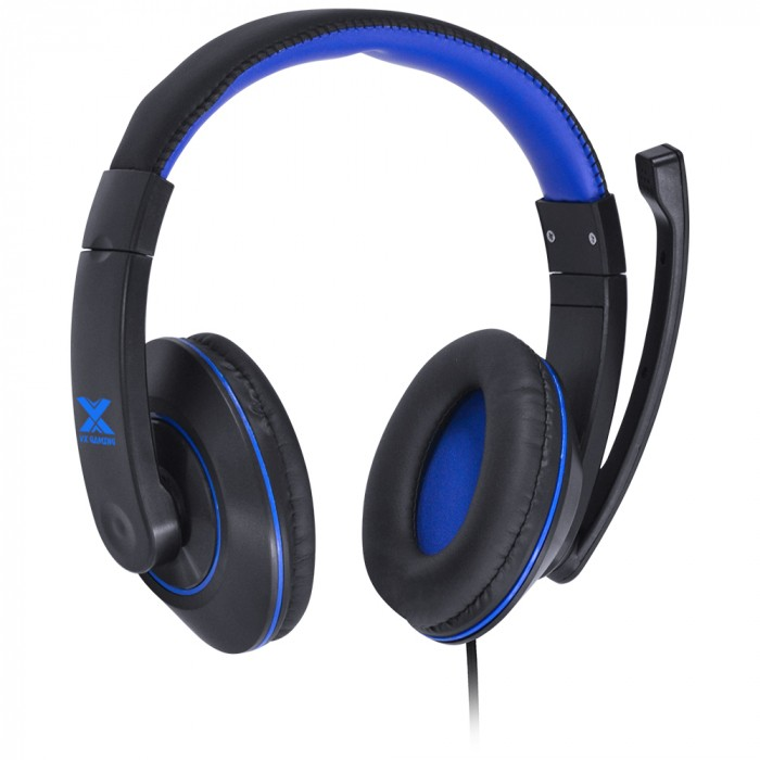 FONE HEADSET GAMER VX GAMING V BLADE II P2 ESTEREO COM MICROFONE RETRATIL E AJUSTE DE HASTE - PRETO COM AZUL