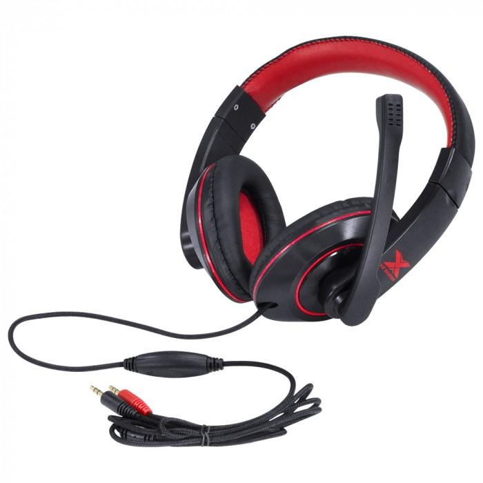 FONE HEADSET GAMER VX GAMING V BLADE II P2 ESTEREO COM MICROFONE RETRATIL E AJUSTE DE HASTE - PRETO COM VERMELHO