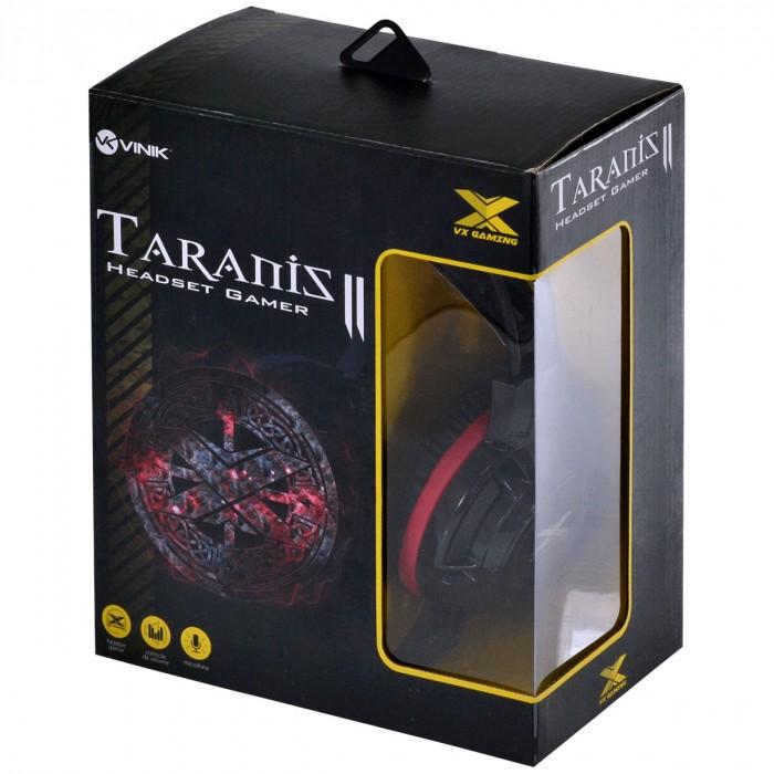 FONE HEADSET VX GAMING TARANIS V2 P2 COM MICROFONE - PRETO E VERMELHO