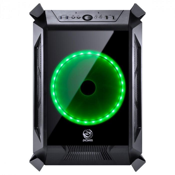 GABINETE CUBO ALPHA PRETO COM 2 FANS 200MM LED RGB - FRONTAL, TOPO E LATERAIS EM VIDRO TEMPERADO - ALPTRGB2FCV