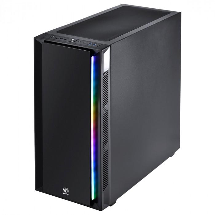 GABINETE FULL-TOWER CHROMA PRETO COM LED E FAN TRASEIRO RGB - LATERAL EM VIDRO TEMPERADO - CHPTRGB1FCV