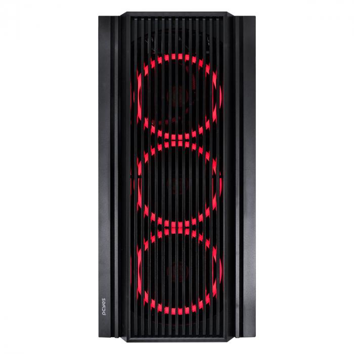 GABINETE MID-TOWER ATMOS PRETO COM 4 FANS 120MM LED VERMELHO - LATERAL EM VIDRO TEMPERADO - ATPTVM4FCV