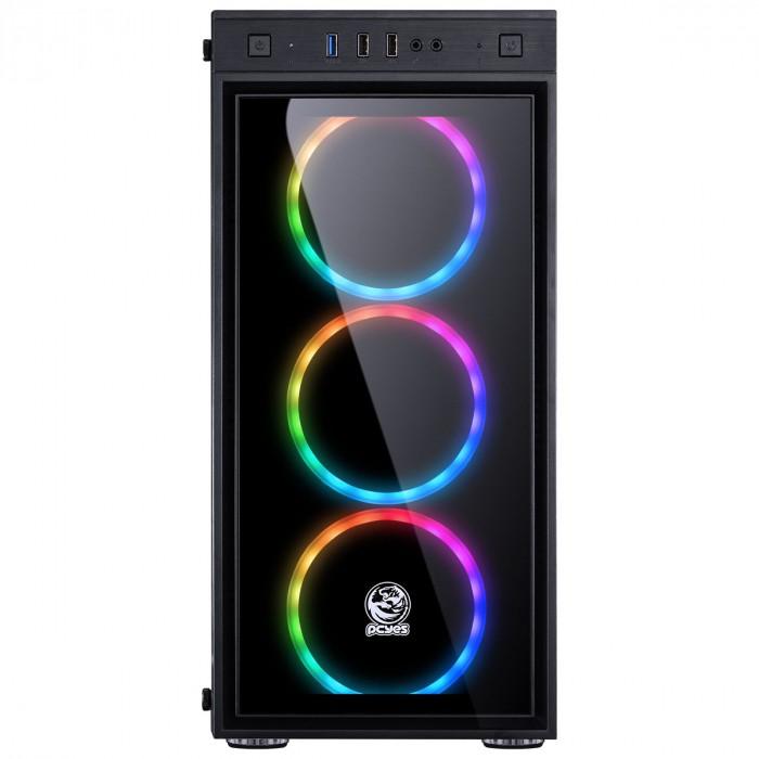 GABINETE MID-TOWER JUPITER PRETO COM 3 FANS LED RGB FRONTAL E LATERAL EM VIDRO TEMPERADO - JUPPT7C3FCV