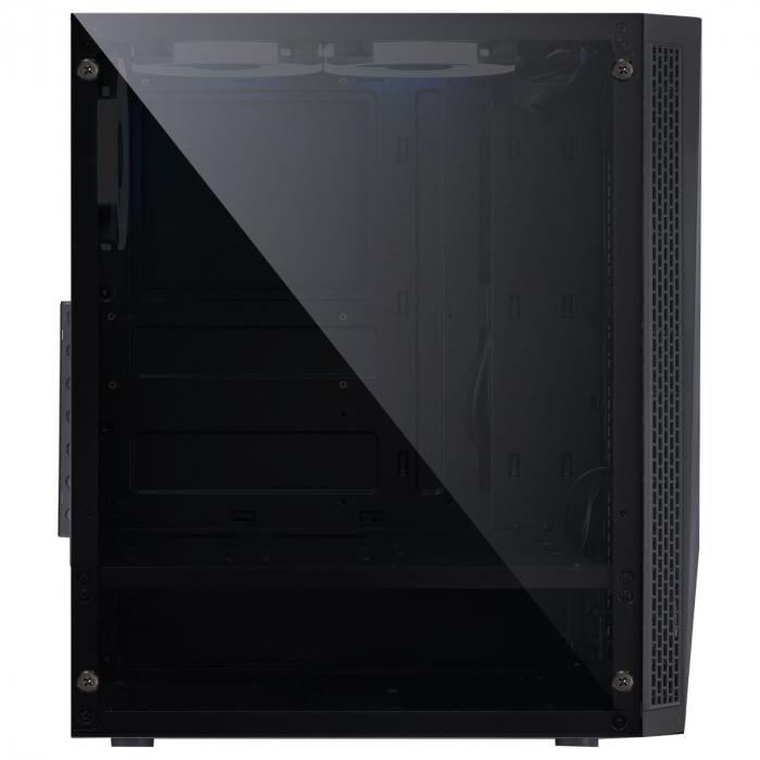 GABINETE MID-TOWER VECTOR PRETO 3 FANS RGB LATERAL EM VIDRO TEMPERADO - VCPTRGB3FV