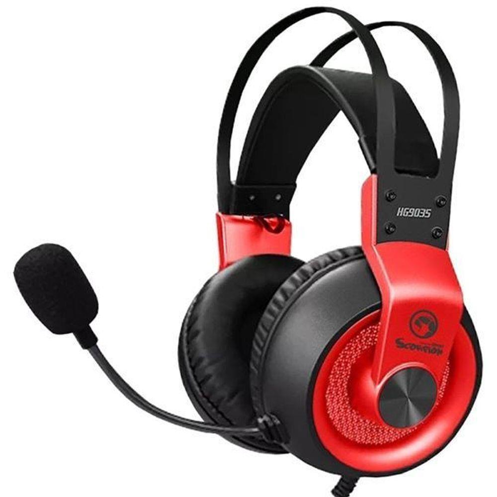 Headset Gamer Marvo Scorpion HG9035 com Microfone Preto/ Vermelho