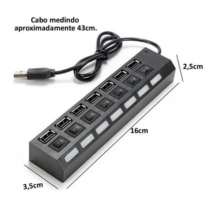 HUB 7 Portas USB 2.0 com Chave e LED Indicador Entrada para Fonte