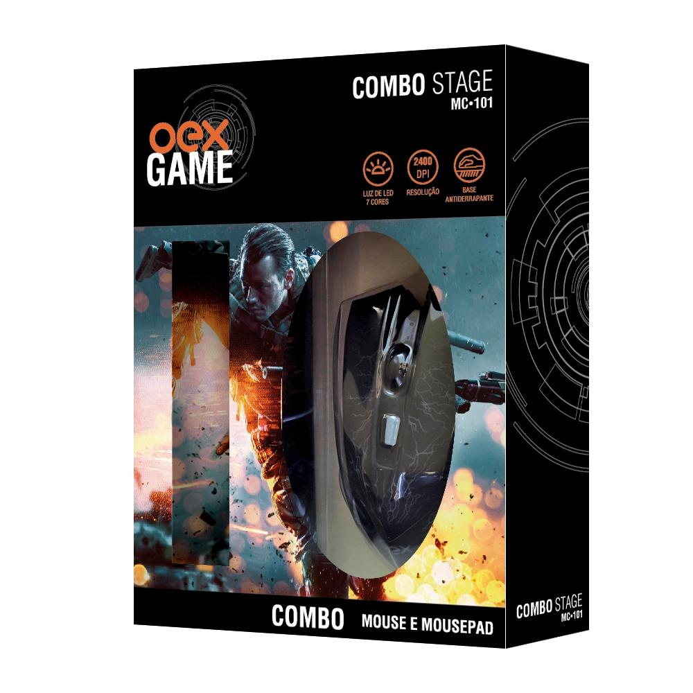 Kit Gamer OEX Stage - Mouse 2400 dpi + Mousepad Pequeno - MC101