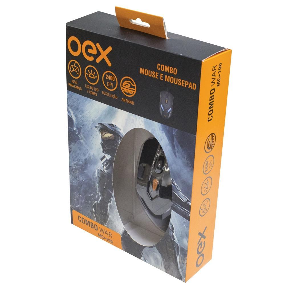 Kit Gamer OEX War MC100 - Mouse 2400 DPI LED + Mousepad
