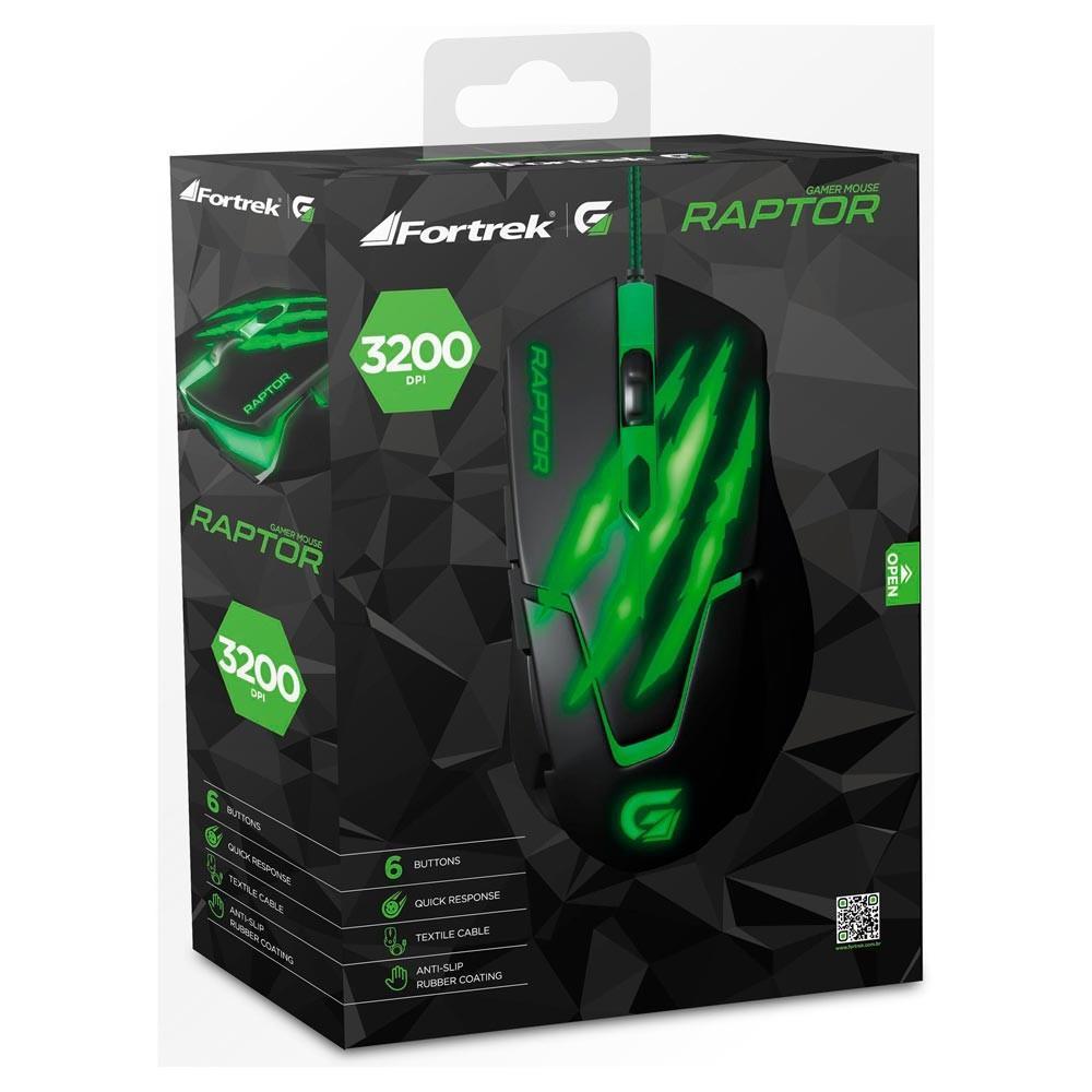 Mouse Gamer Fortrek Raptor Series USB 6 Botões 3200DPI