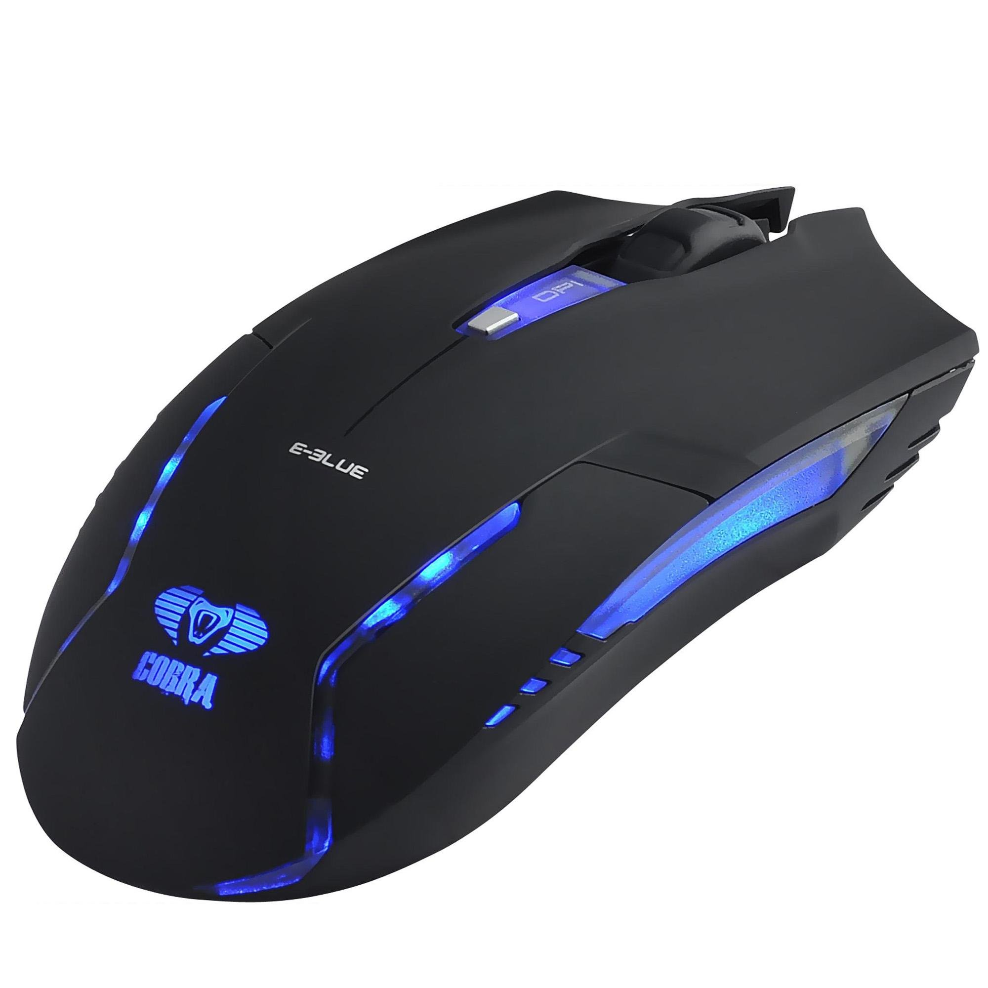 Mouse Gamer USB 1600DPI Cobra II Preto E-BLUE