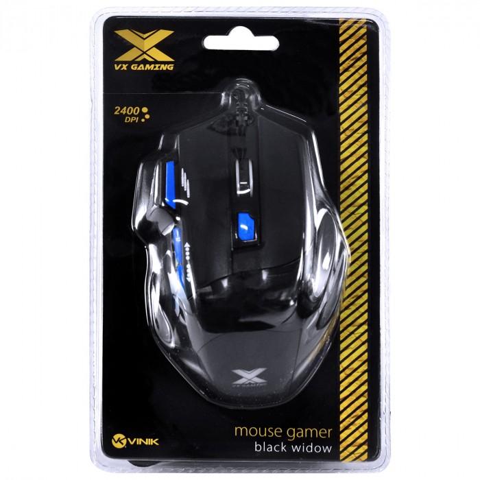 MOUSE GAMER VX GAMING BLACK WIDOW 2400 DPI AJUSTAVEL E 06 BOTOES PRETO COM AZUL USB - GM104