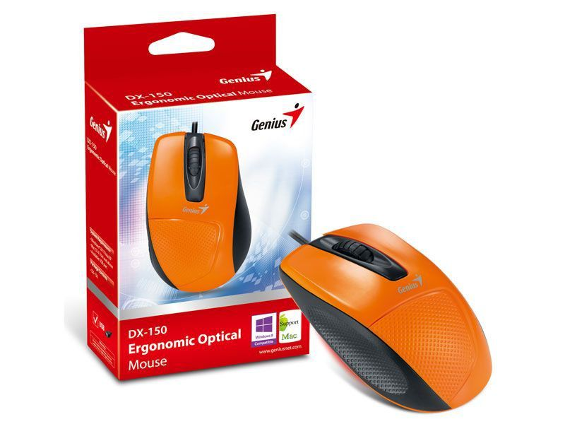 MOUSE GENIUS 31010010106 DX-150 LARANJA USB 1200DPI ERGONOMICO