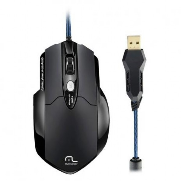 MOUSE LASER GAMER PROFISSIONAL USB 3200DPI 6 BOTÕES MO191 PRETO