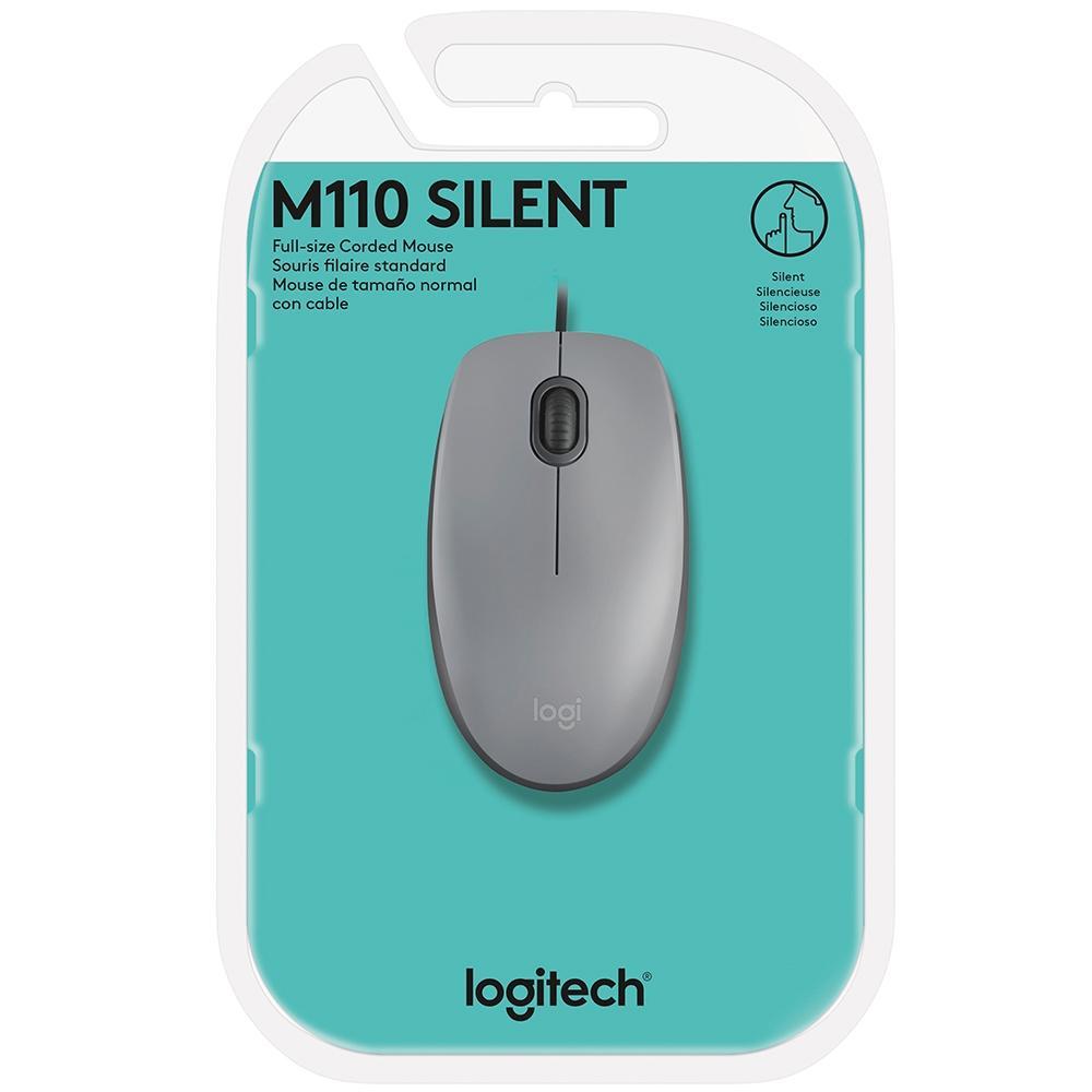 Mouse Logitech M110 com Clique Silencioso Cinza