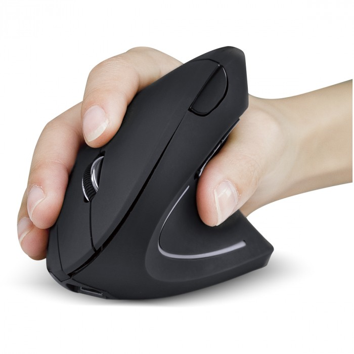 MOUSE SEM FIO RECARREGAVEL 2.4 GHZ VERTICAL ERGONOMICO ORTOPEDICO POWER FIT 1600 DPI PRETO USB - PM300